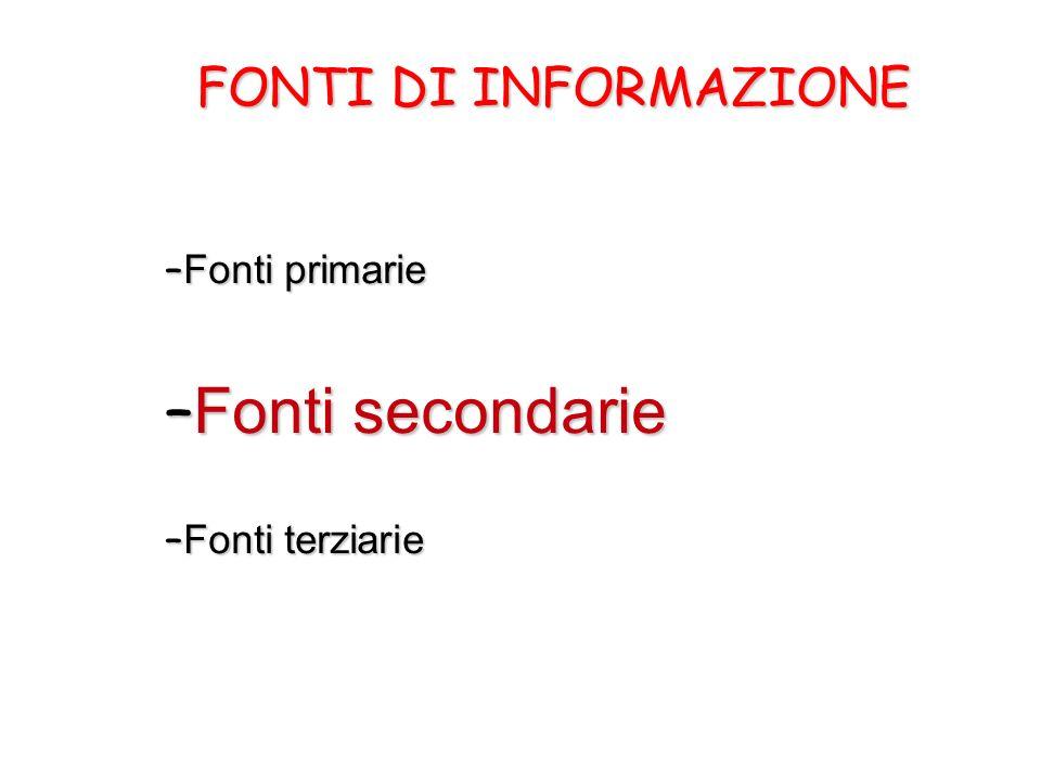 Fonti secondarie FONTI DI INFORMAZIONE Fonti primarie Fonti terziarie