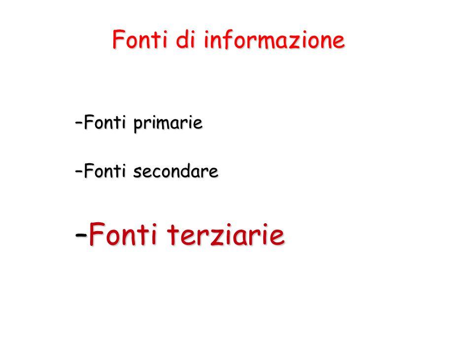 Fonti terziarie Fonti di informazione Fonti primarie Fonti secondare