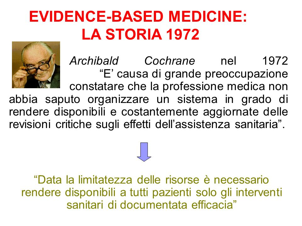 EVIDENCE-BASED MEDICINE: LA STORIA 1972