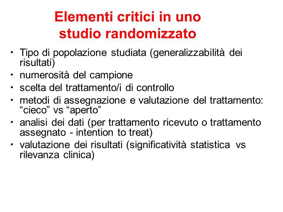 Elementi critici in uno studio randomizzato