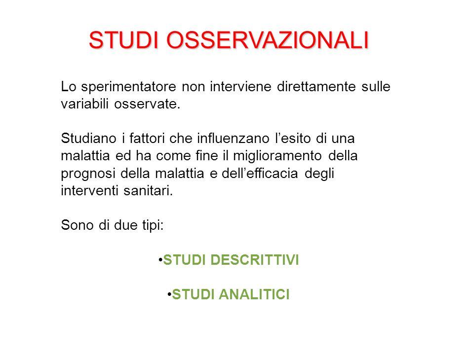 STUDI OSSERVAZIONALI Lo sperimentatore non interviene direttamente sulle variabili osservate.