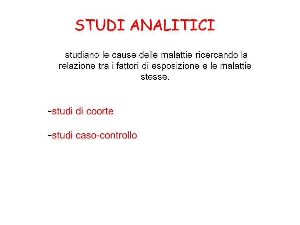 STUDI ANALITICI studi di coorte studi caso-controllo