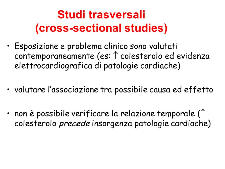 Studi trasversali (cross-sectional studies)‏