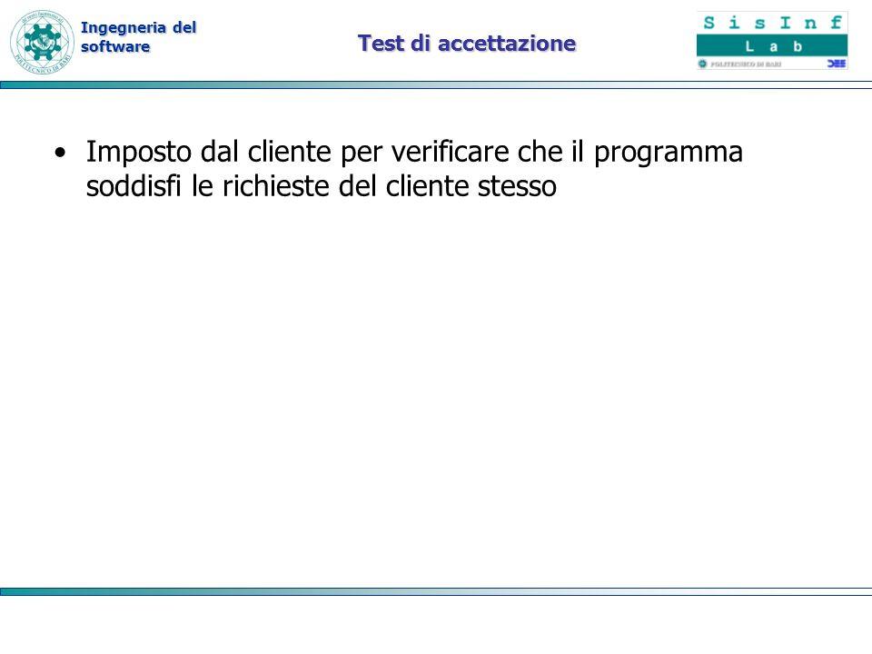 Test di accettazione Imposto dal cliente per verificare che il programma soddisfi le richieste del cliente stesso.