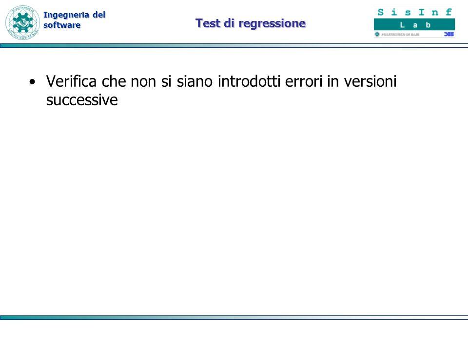 Verifica che non si siano introdotti errori in versioni successive