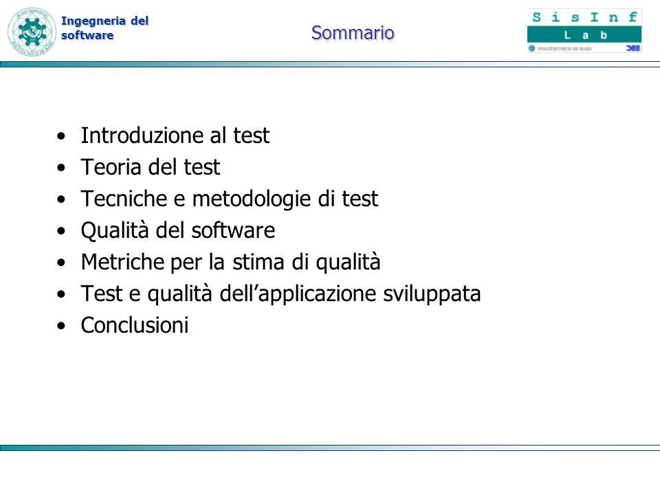 Tecniche e metodologie di test Qualità del software