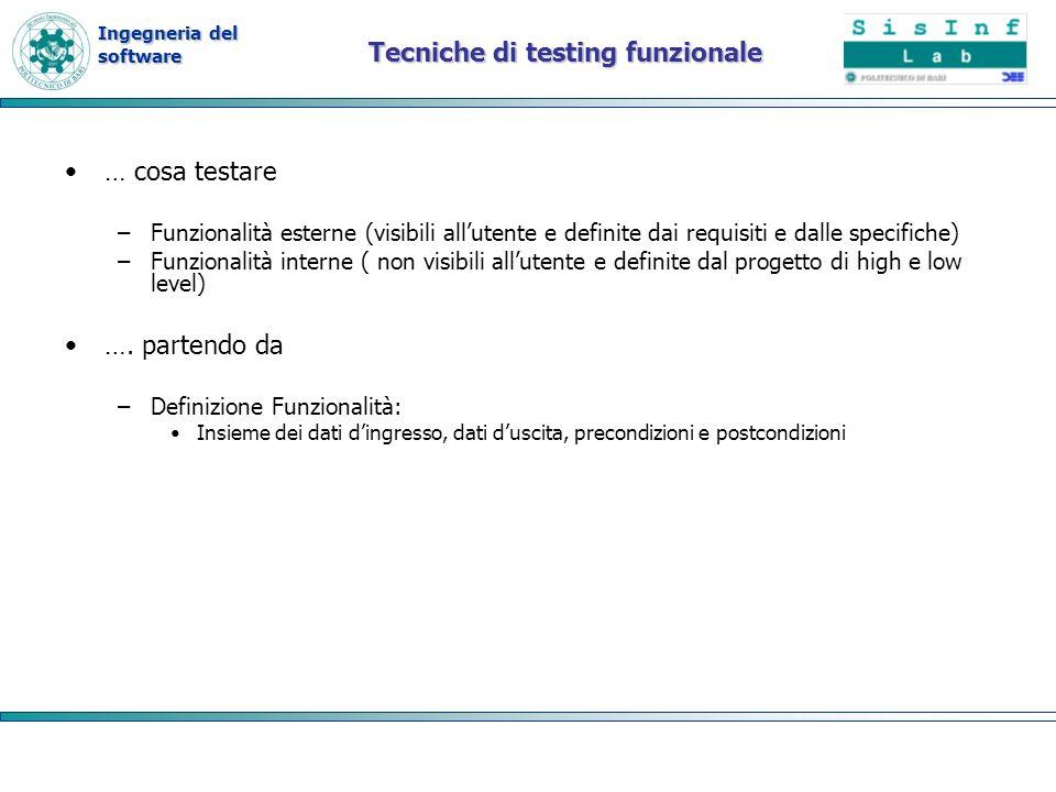 Tecniche di testing funzionale