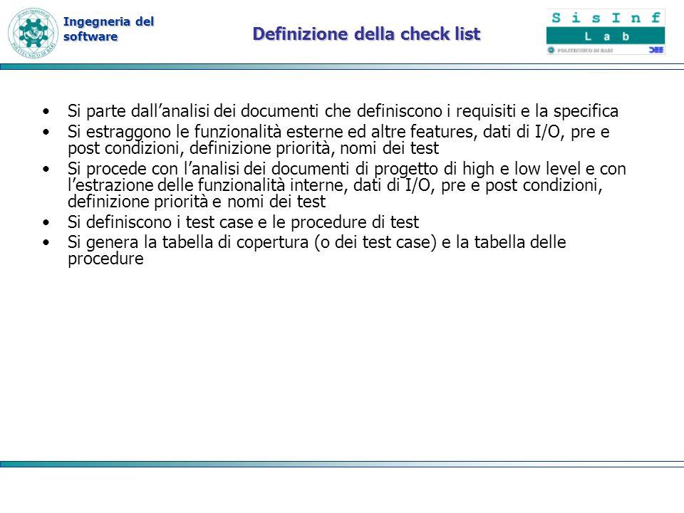 Definizione della check list