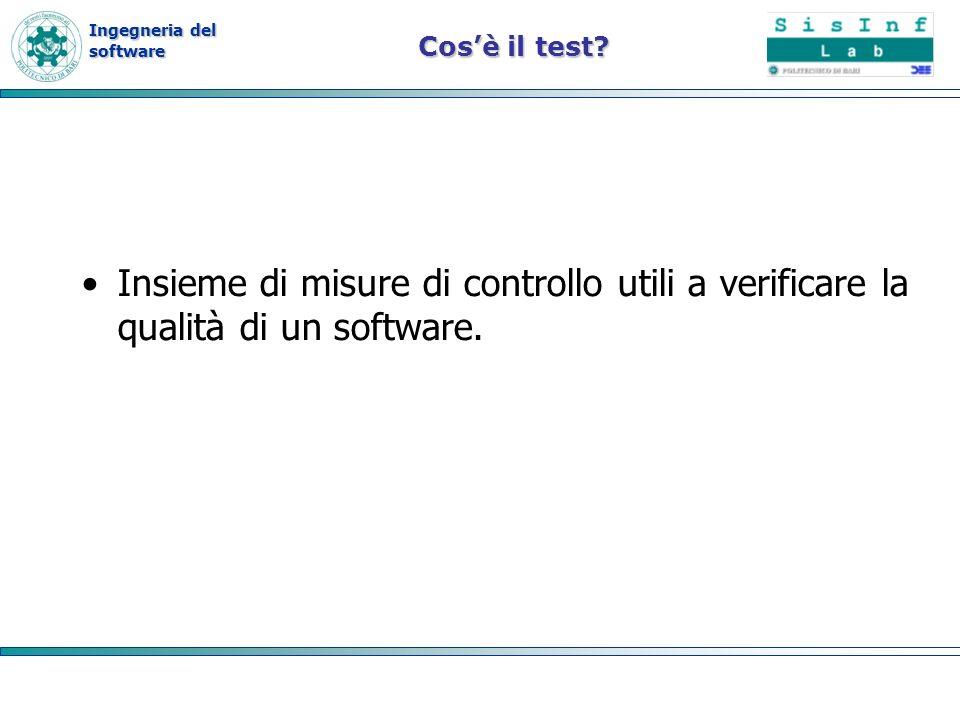 Cos'è il test. Insieme di misure di controllo utili a verificare la qualità di un software.