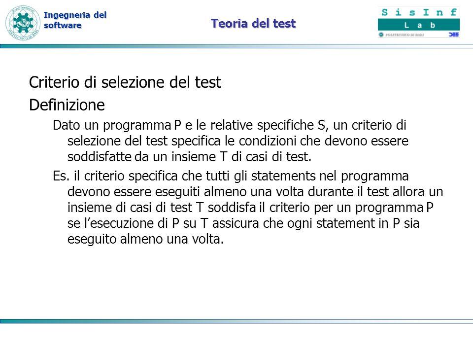 Criterio di selezione del test Definizione