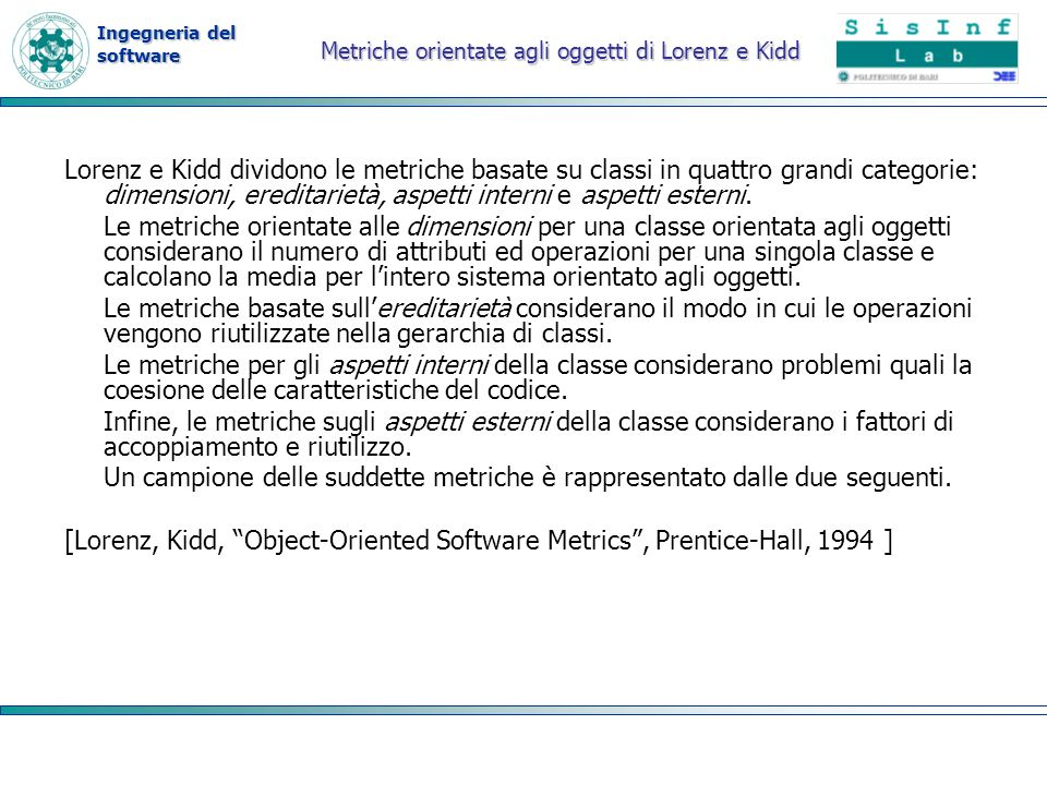 Metriche orientate agli oggetti di Lorenz e Kidd