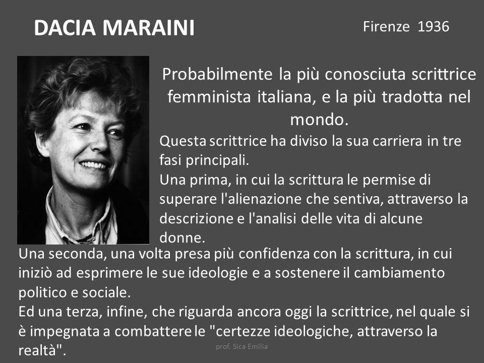 DACIA MARAINI Firenze 1936. Probabilmente la più conosciuta scrittrice femminista italiana, e la più tradotta nel mondo.