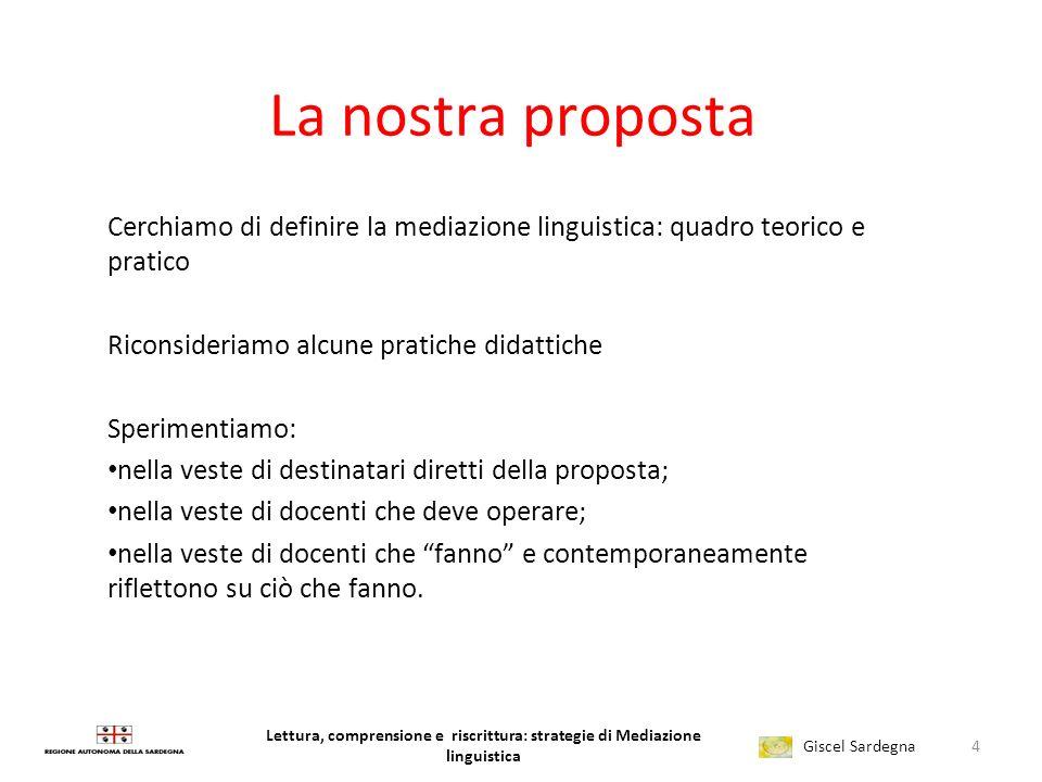 La nostra proposta Cerchiamo di definire la mediazione linguistica: quadro teorico e pratico. Riconsideriamo alcune pratiche didattiche.