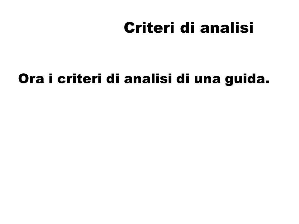 Criteri di analisi Ora i criteri di analisi di una guida.