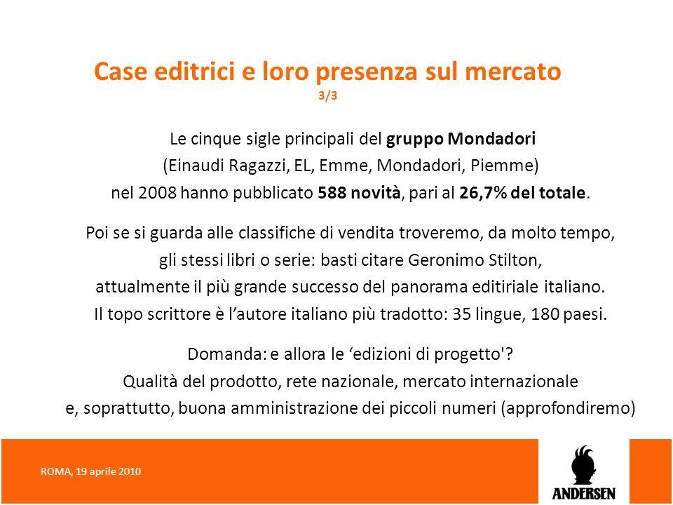 Case editrici e loro presenza sul mercato 3/3