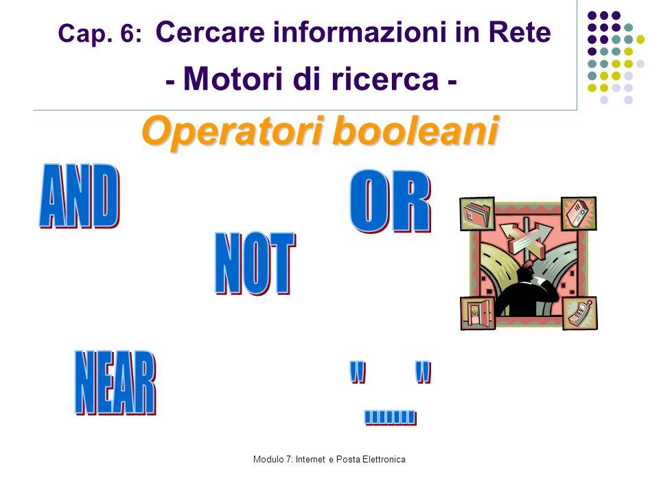 Cap. 6: Cercare informazioni in Rete - Motori di ricerca -