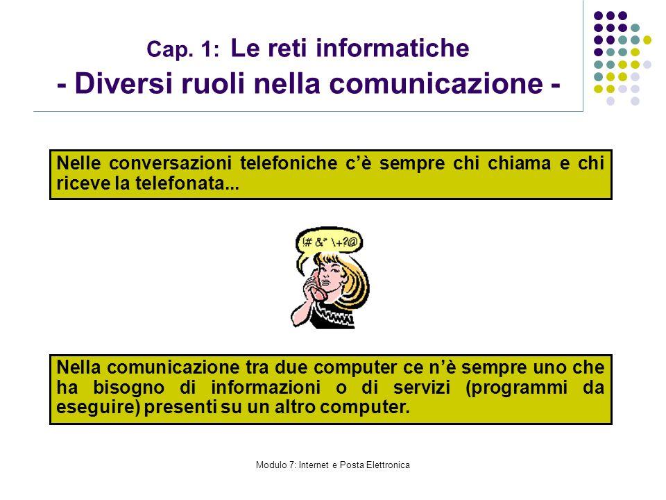 Cap. 1: Le reti informatiche - Diversi ruoli nella comunicazione -