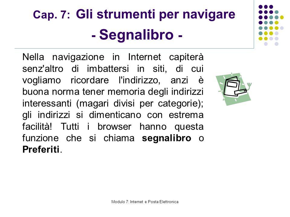 Cap. 7: Gli strumenti per navigare - Segnalibro -