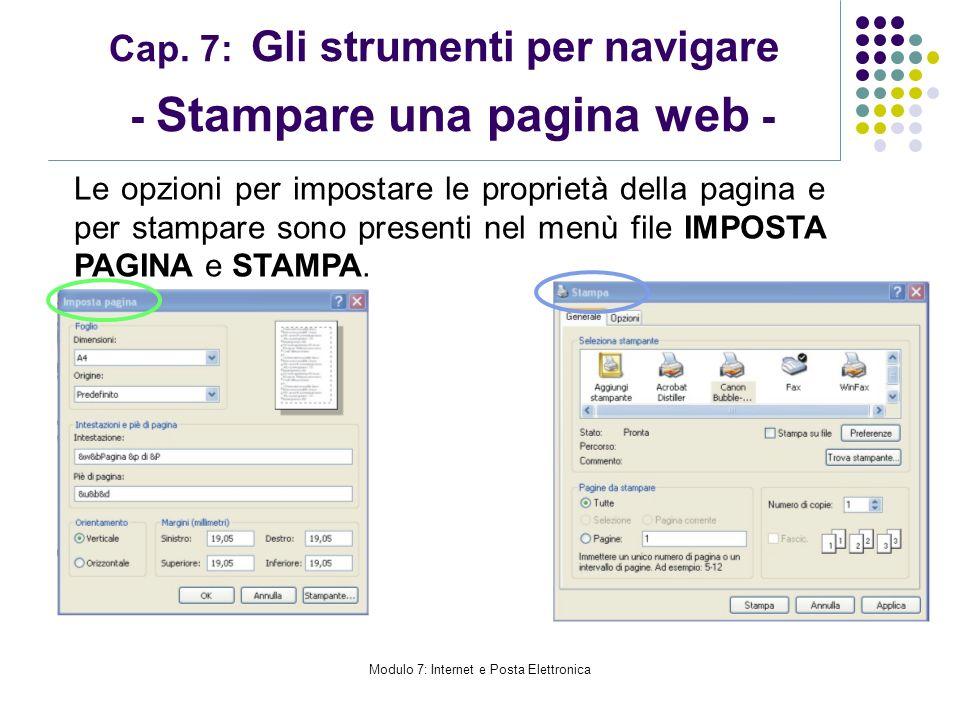 Cap. 7: Gli strumenti per navigare - Stampare una pagina web -