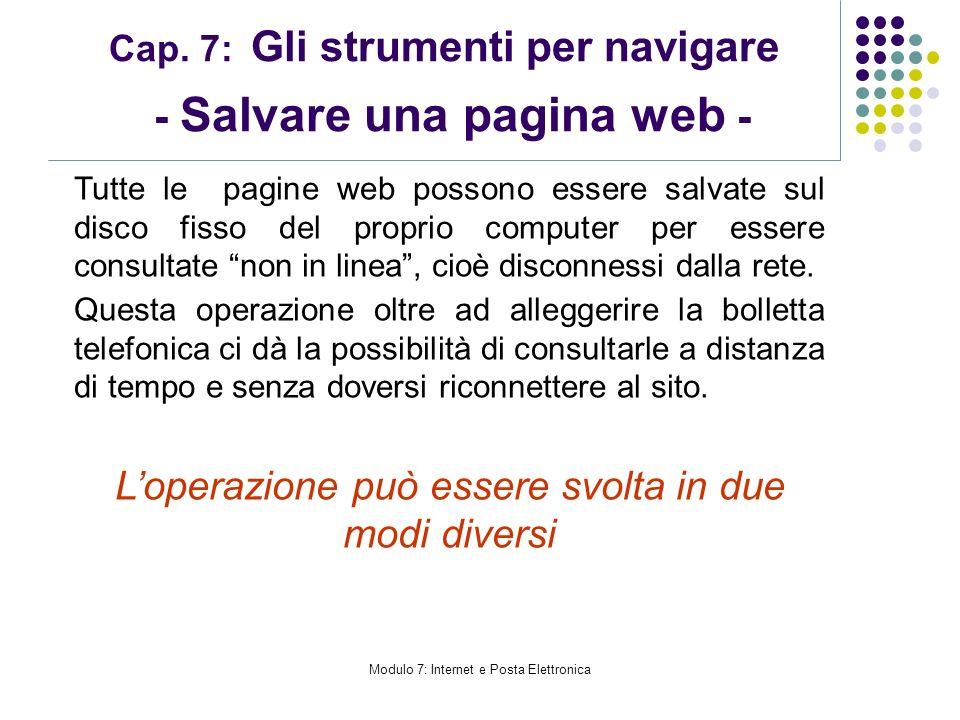 Cap. 7: Gli strumenti per navigare - Salvare una pagina web -
