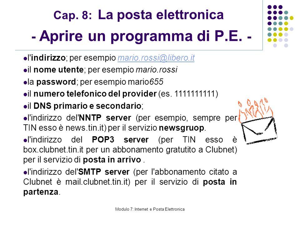 Cap. 8: La posta elettronica - Aprire un programma di P.E. -