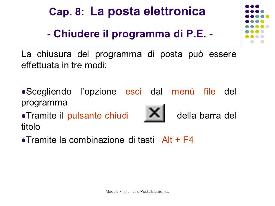 Cap. 8: La posta elettronica - Chiudere il programma di P.E. -