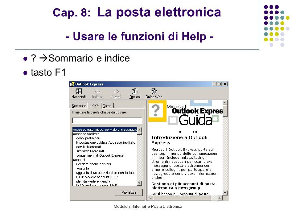 Cap. 8: La posta elettronica - Usare le funzioni di Help -