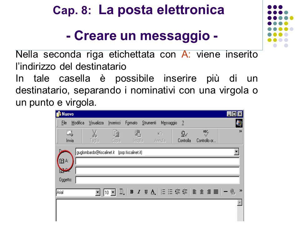 Cap. 8: La posta elettronica - Creare un messaggio -