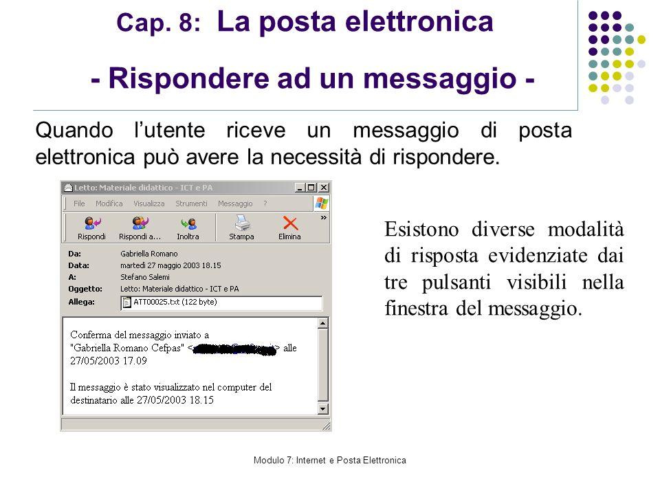 Cap. 8: La posta elettronica - Rispondere ad un messaggio -