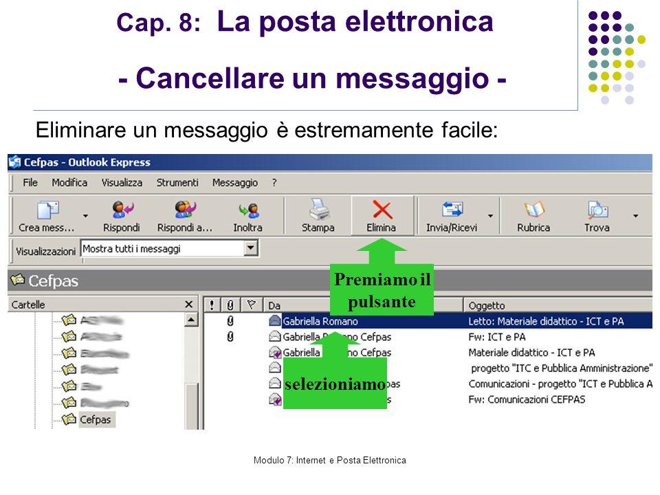 Cap. 8: La posta elettronica - Cancellare un messaggio -