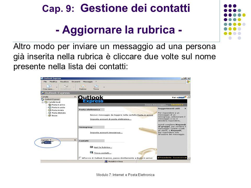 Cap. 9: Gestione dei contatti - Aggiornare la rubrica -