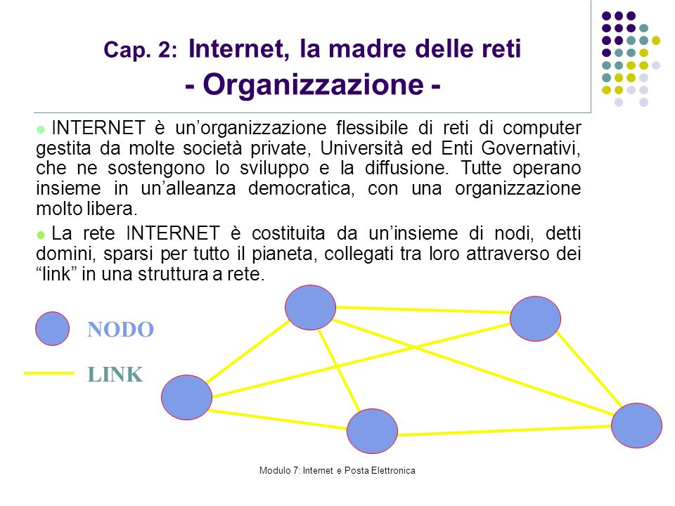 Cap. 2: Internet, la madre delle reti - Organizzazione -