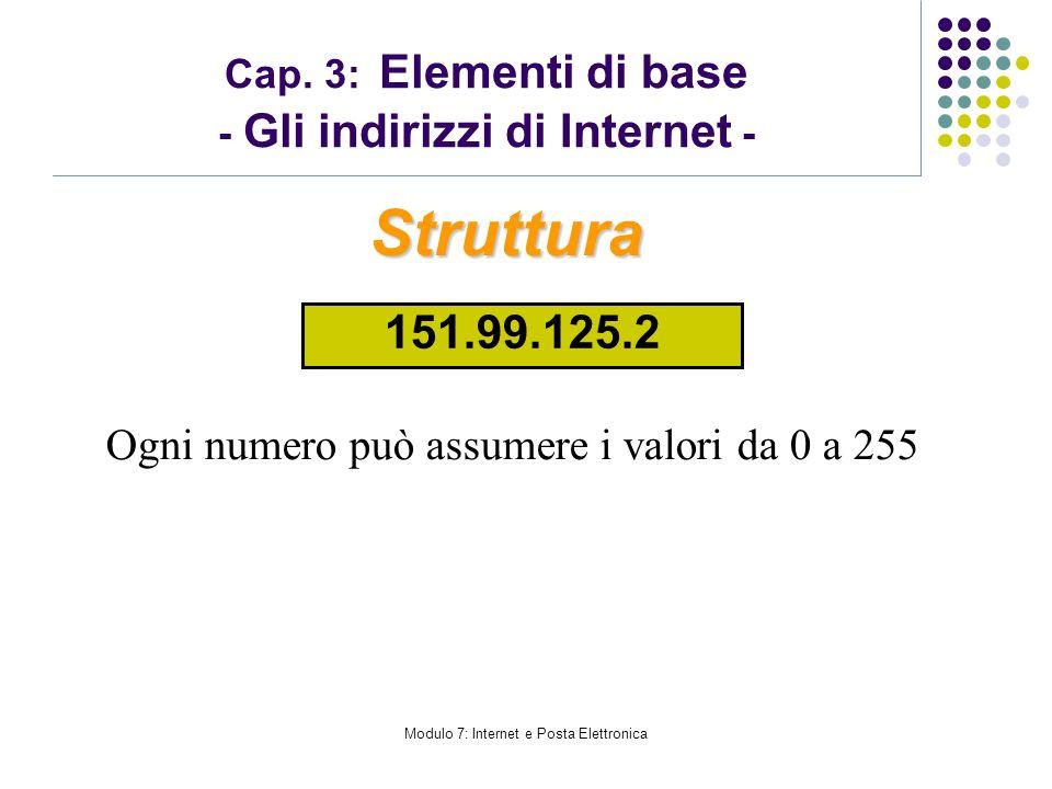 Cap. 3: Elementi di base - Gli indirizzi di Internet -
