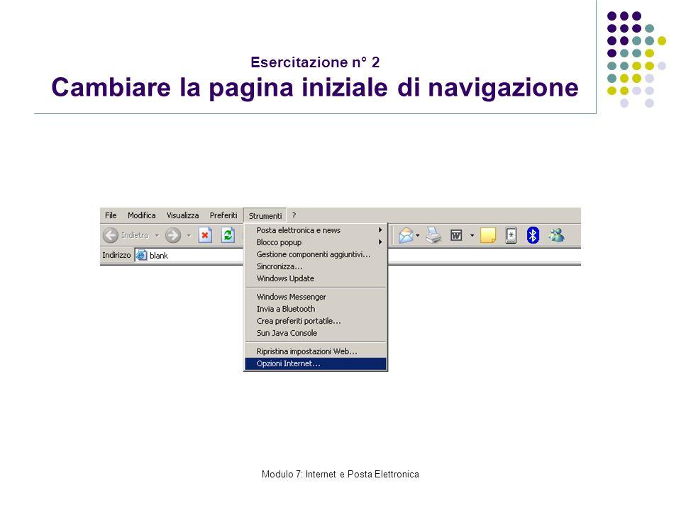 Esercitazione n° 2 Cambiare la pagina iniziale di navigazione