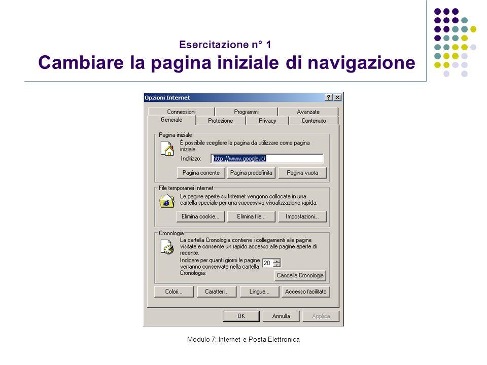 Esercitazione n° 1 Cambiare la pagina iniziale di navigazione