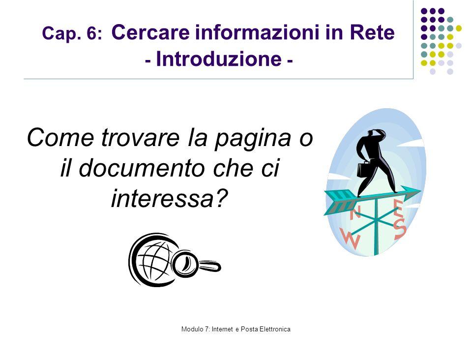 Cap. 6: Cercare informazioni in Rete - Introduzione -