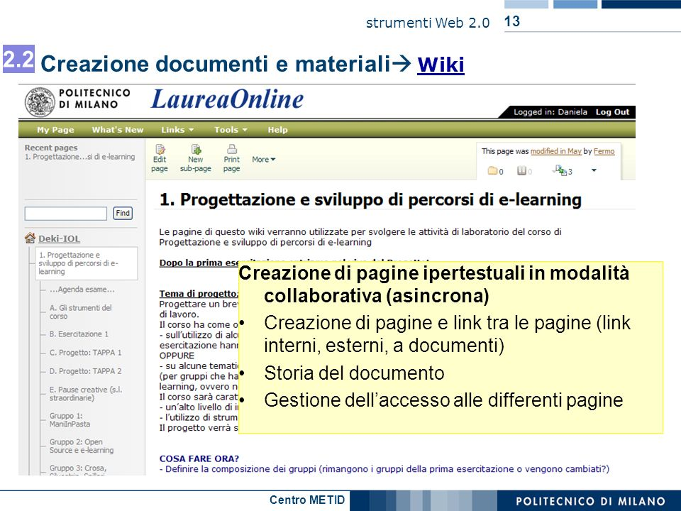 Creazione documenti e materiali Wiki