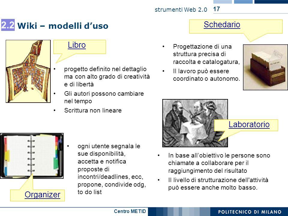 2.2 Schedario Wiki – modelli d'uso Libro Laboratorio Organizer