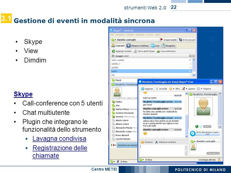 3.1 Gestione di eventi in modalità sincrona Skype View Dimdim Skype