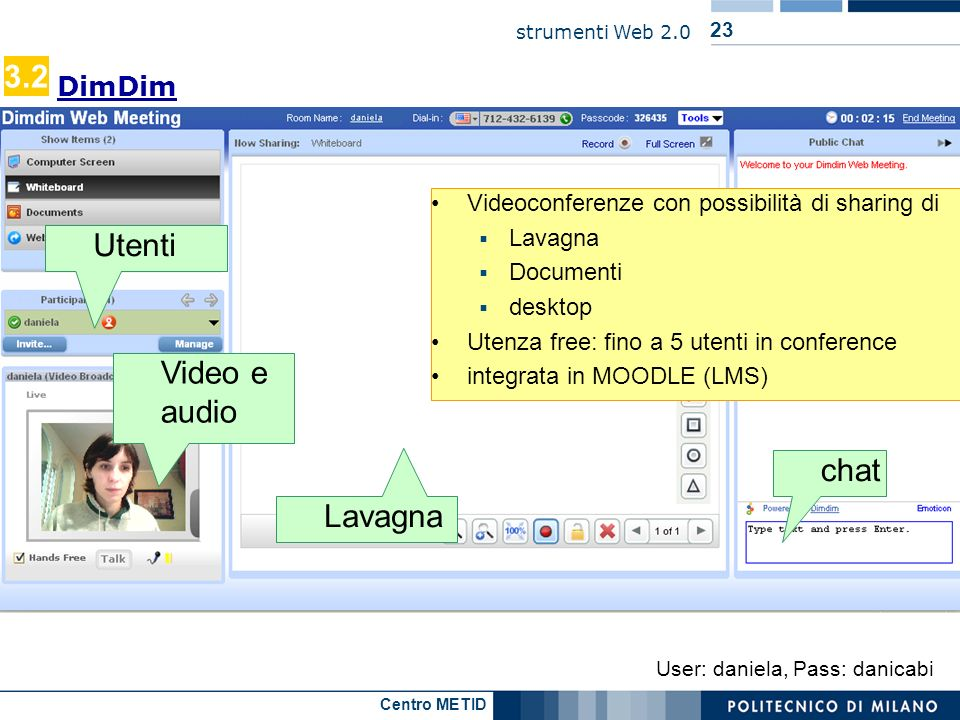 3.2 Utenti Video e audio chat Lavagna DimDim