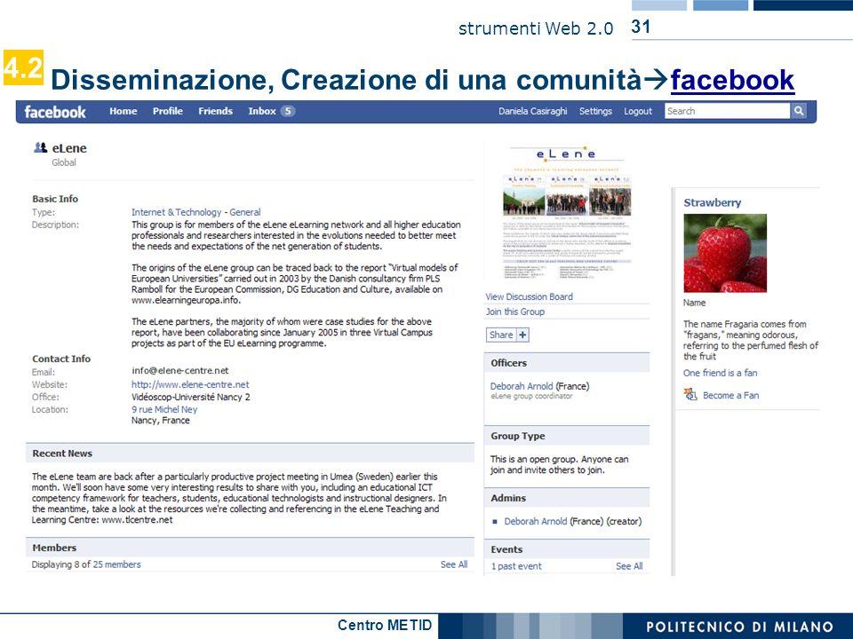 4.2 Disseminazione, Creazione di una comunitàfacebook