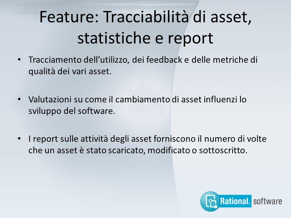 Feature: Tracciabilità di asset, statistiche e report
