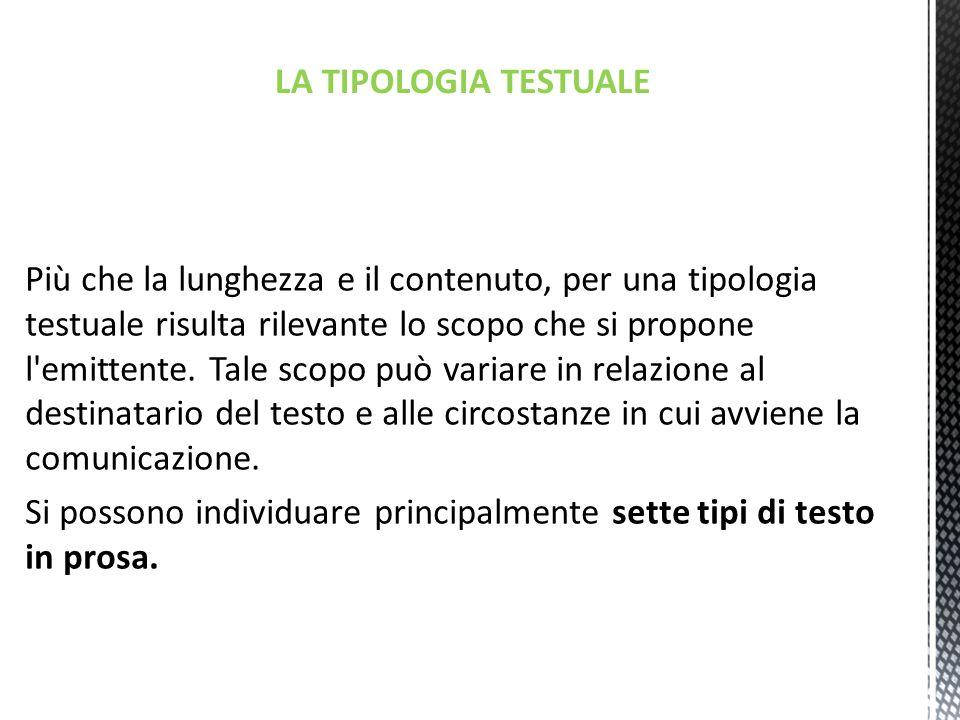 LA TIPOLOGIA TESTUALE