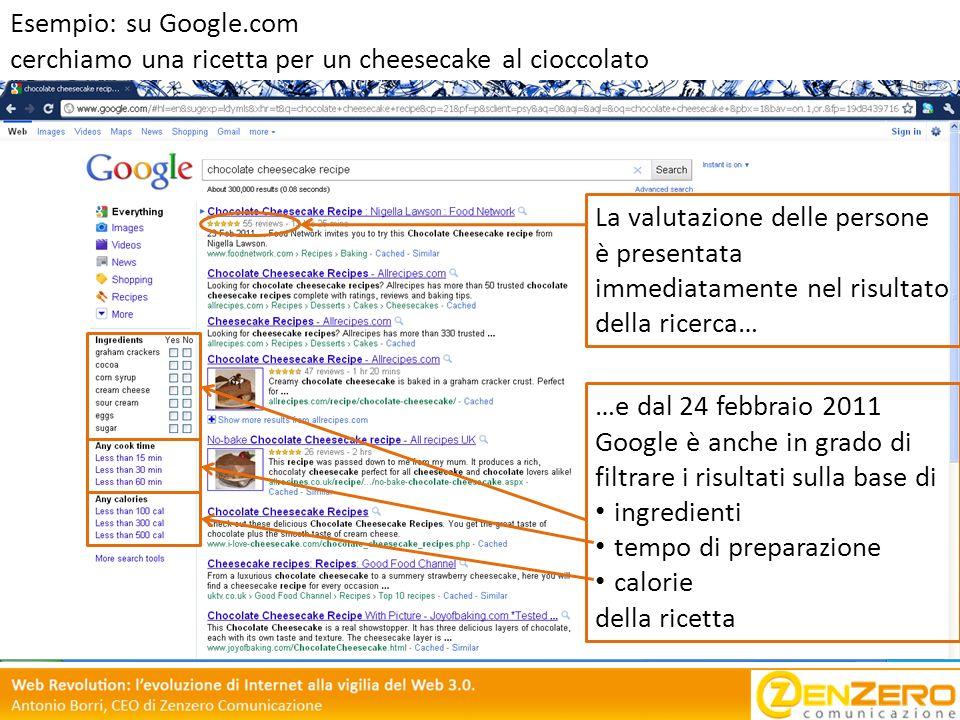 Esempio: su Google.com cerchiamo una ricetta per un cheesecake al cioccolato