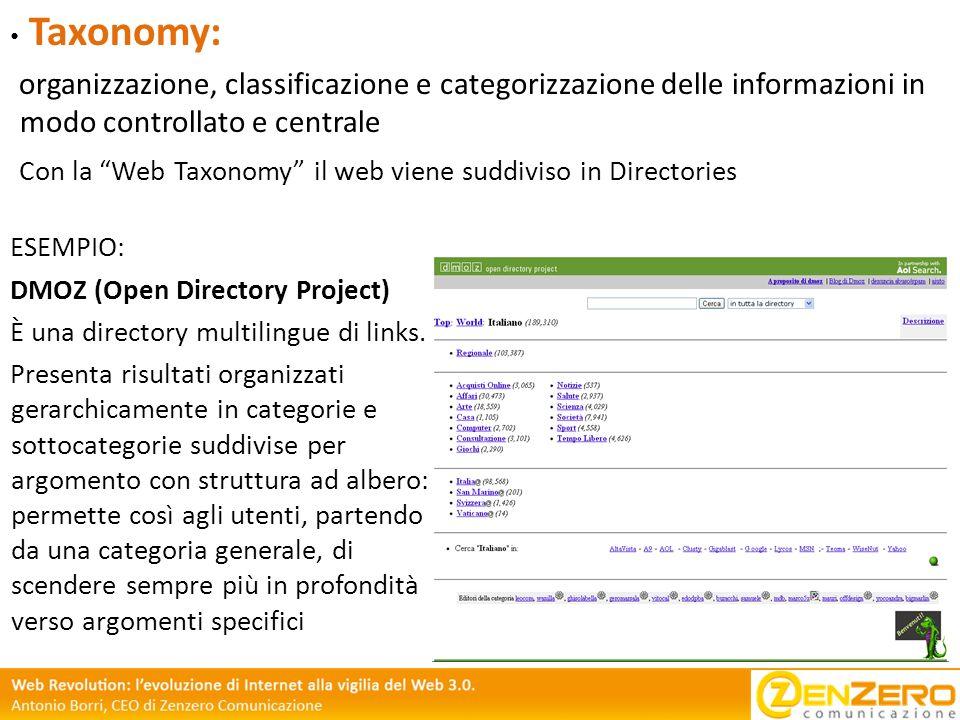 Taxonomy: organizzazione, classificazione e categorizzazione delle informazioni in modo controllato e centrale.