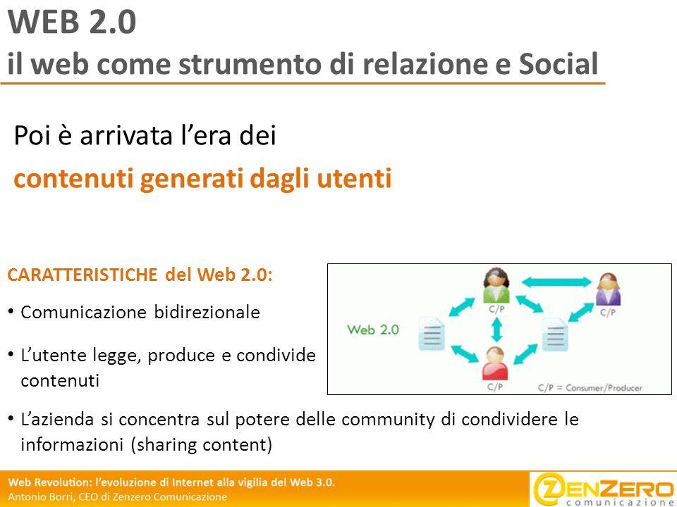 WEB 2.0 il web come strumento di relazione e Social