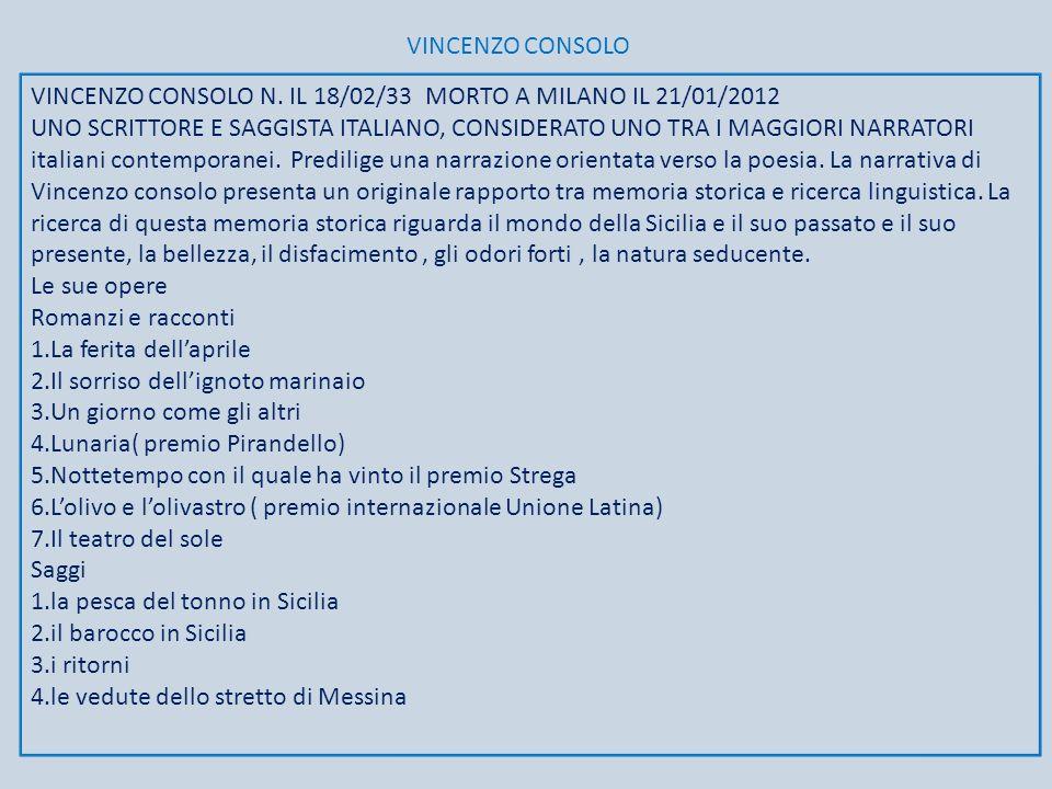 VINCENZO CONSOLO VINCENZO CONSOLO N. IL 18/02/33 MORTO A MILANO IL 21/01/2012.