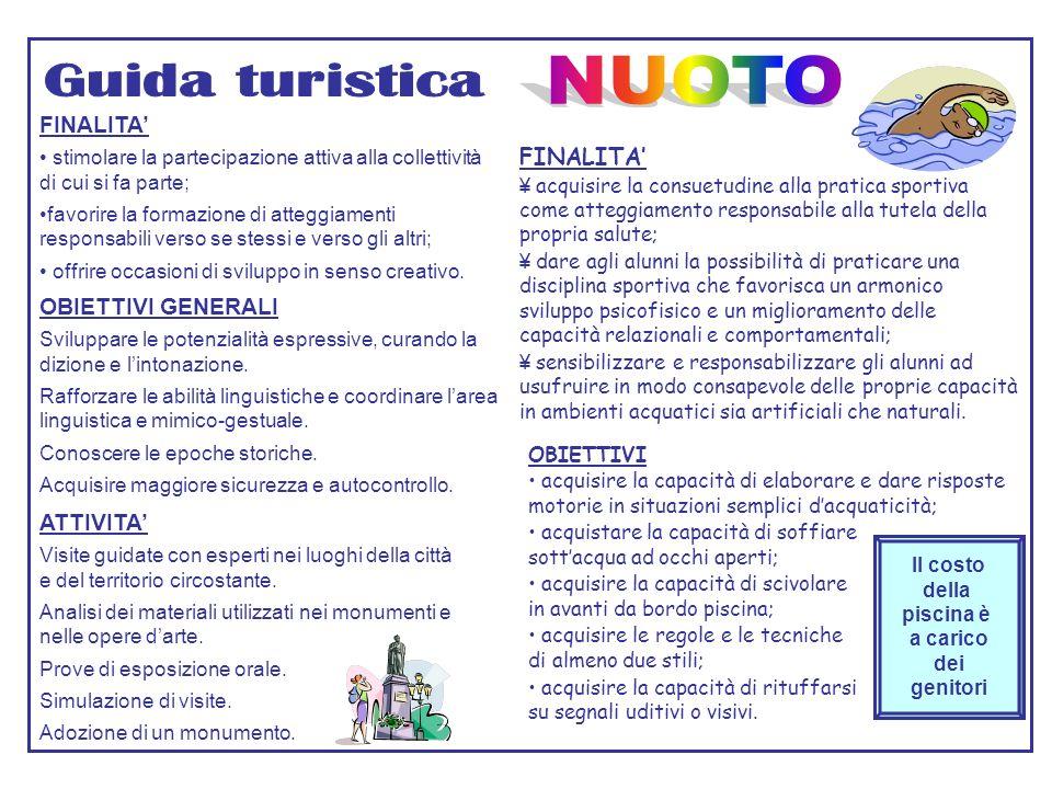 NUOTO Guida turistica FINALITA' FINALITA' OBIETTIVI GENERALI ATTIVITA'