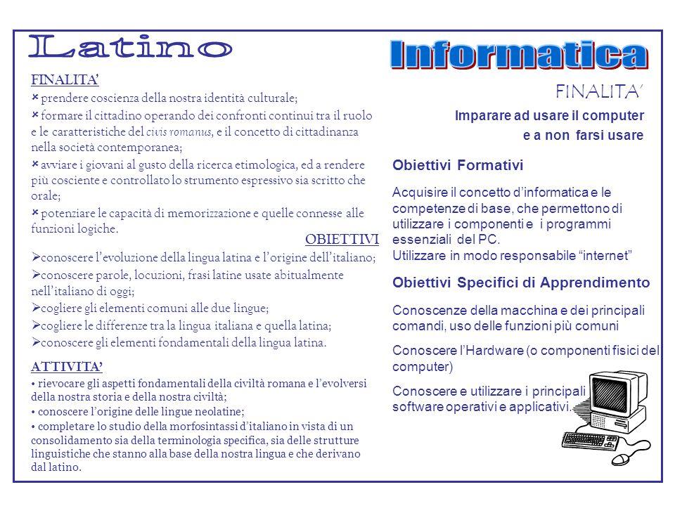 Latino Informatica FINALITA' FINALITA' Obiettivi Formativi OBIETTIVI