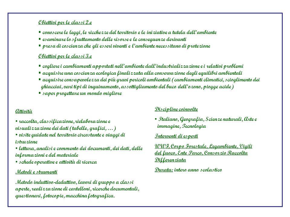 Obiettivi per le classi 2.e